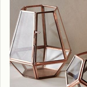 Anthropologie Glass and Copper Candle Holder